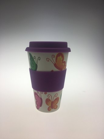 Bamboo cup 400ml, butterfly