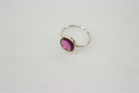 Ring Rond 'Roze Tourmaline' Zilver